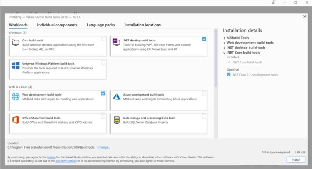 Visual Studio installation