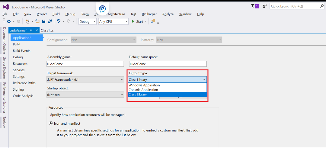 dll to exe visual studio project properties
