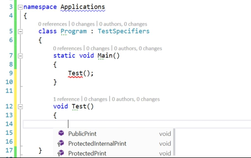 access specifier in c#, access specifier in oop,  private and public access modifiers in C#, protected access specifier in C#, protected internal access specifier, explain protected internal access specifier, example of access specifier