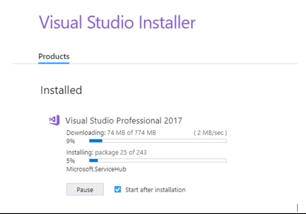 Visual studio installation step 6